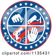 Clipart Of A Circle Of A Fist Surveillance Security Camera Pistol And Hand With Stars And Stripes Royalty Free Vector Illustration