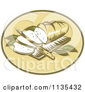Clipart Of A Retro Loaf Of Breadon A Cutting Board With A Knife Royalty Free Vector Illustration by patrimonio