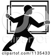 Black And White Glass Delivery Worker