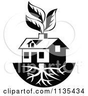Clipart Of A Black And White House With Roots And Leaves Through The Chimney Royalty Free Vector Illustration