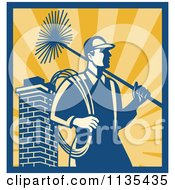 Clipart Of A Retro Chimney Sweep Worker Over Rays Royalty Free Vector Illustration by patrimonio