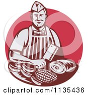 Clipart Of A Retro Woodcut Red Butcher Holding A Cleaver Knife Over Meats Royalty Free Vector Illustration