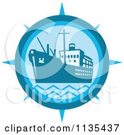 Clipart Of A Cargo Ship Compass In Blue Royalty Free Vector Illustration
