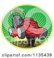 Clipart Of A Lawn Mower Man With Folded Arms In A Sunrise Oval Royalty Free Vector Illustration