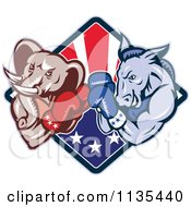 Clipart Of A Retro Political Elephant And Donkey Boxing Over An American Diamond Royalty Free Vector Illustration