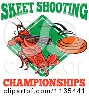 Clipart Of A Skeet Shooting Championships Crayfish Over A Diamond Royalty Free Vector Illustration by patrimonio