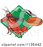 Clipart Of A Crayfish Skeet Target Shooting Over A Diamond Royalty Free Vector Illustration