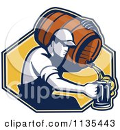 Clipart Of A Retro Man Pouring Beer Into A Mug From A Barrel Over A Yellow Hexagon Royalty Free Vector Illustration