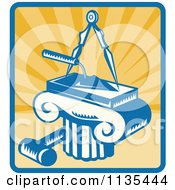 Clipart Of A Retro Masonry Trowel Compass Mallet And Column Over Rays Royalty Free Vector Illustration by patrimonio