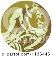 Clipart Of A Retro Organic Farmer Harvesting Vegetables Royalty Free Vector Illustration