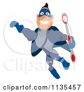 Cartoon Of A Blue Super Guy Flying With A Tooth Brush Royalty Free Clipart