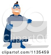 Cartoon Of A Blue Super Guy Holding A Sign 1 Royalty Free Clipart
