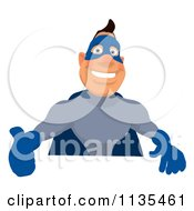 Cartoon Of A Blue Super Guy Holding A Sign 3 Royalty Free Clipart