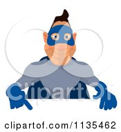 Cartoon Of A Blue Super Guy Holding A Sign 4 Royalty Free Clipart