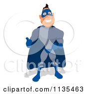 Cartoon Of A Blue Super Guy Holding A Thumb Up 1 Royalty Free Clipart
