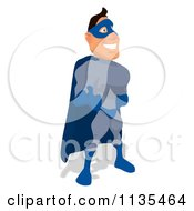 Cartoon Of A Blue Super Guy Holding A Thumb Up 2 Royalty Free Clipart