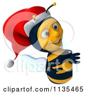 Clipart Of A 3d Christmas Bee With A Sign 2 Royalty Free CGI Illustration