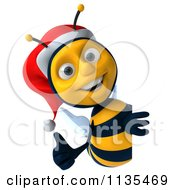 Clipart Of A 3d Christmas Bee With A Sign 1 Royalty Free CGI Illustration