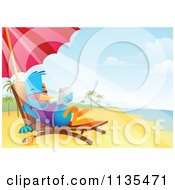 Cartoon Of A Bluebird Using A Tablet On A Beach Chaise Lounge Royalty Free Vector Clipart by Qiun