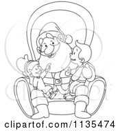 Cartoon Of A Outlined Children On Santas Lap Royalty Free Vector Clipart by yayayoyo