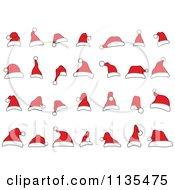 Cartoon Of Doodled Santa Hats Royalty Free Vector Clipart