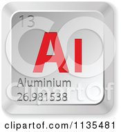 Clipart Of A 3d Red And Silver Aluminium Element Keyboard Button 2 Royalty Free Vector Illustration by Andrei Marincas