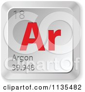Clipart Of A 3d Red And Silver Argon Element Keyboard Button Royalty Free Vector Illustration
