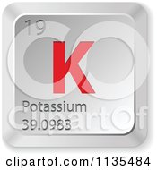 Clipart Of A 3d Red And Silver Potassium Element Keyboard Button Royalty Free Vector Illustration