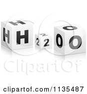 Clipart Of 3d Black And White H2o Cubes Royalty Free Vector Illustration