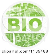 Clipart Of A Round Grungy Green Bio Icon Royalty Free Vector Illustration