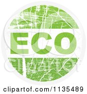 Clipart Of A Round Grungy Green Eco Icon Royalty Free Vector Illustration by Andrei Marincas