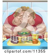 Chubby Man Eating A Tray Full Of Fast Food Clipart Illustration