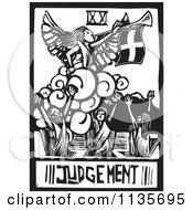 Clipart Of A Judgement Tarot Card Black And White Woodcut Royalty Free Vector Illustration by xunantunich