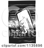 Clipart Of A Scrimshaw Of A Whale Attacking A Boat Black And White Woodcut Royalty Free Vector Illustration by xunantunich