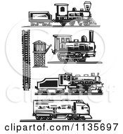 Clipart Of Trains And Locomotives Black And White Woodcut Royalty Free Vector Illustration by xunantunich