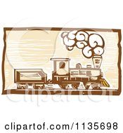 Clipart Of A Steam Engine Train Woodcut 1 Royalty Free Vector Illustration by xunantunich