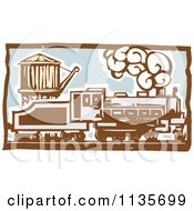 Clipart Of A Steam Engine Train Woodcut 2 Royalty Free Vector Illustration by xunantunich