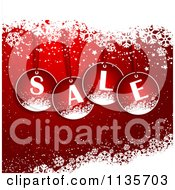 Clipart Of A Red Christmas Sale Background With Snowflakes Royalty Free Vector Illustration