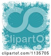 Clipart Of A Blue Christmas Snowflake Grunge Burst Background Royalty Free Vector Illustration