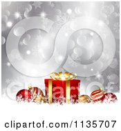 Clipart Of A Silver Christmas Background With Baubles Gifts Bokeh And Snowflakes Royalty Free Vector Illustration