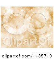 Clipart Of A Gold Bokeh Light Sparkle And Snowflake Christmas Background Royalty Free Vector Illustration