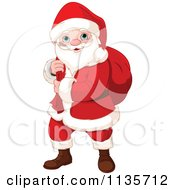Cartoon Of Santa Carrying A Sack Over His Shoulder Royalty Free Vector Clipart by Pushkin