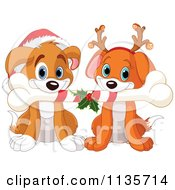 Cartoon Of Cute Christmas Puppies With A Bone Santa Hat And Antlers Royalty Free Vector Clipart by Pushkin