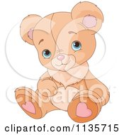 Cartoon Of A Cute Teddy Bear Sitting Royalty Free Vector Clipart by Pushkin