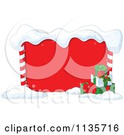 Cartoon Of A Red Christmas Frame With Snow And Presents Royalty Free Vector Clipart