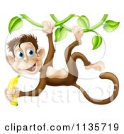 Cartoon Of A Monkey Hanging From A Vine And Holding A Banana Royalty Free Vector Clipart by AtStockIllustration
