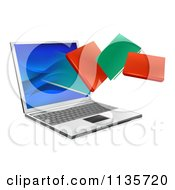 Clipart Of 3d Books Flying From A Laptop Computer Royalty Free Vector Illustration by AtStockIllustration