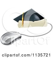 Clipart Of A Computer Mouse With A Graduation Cap And Diploma Royalty Free Vector Illustration