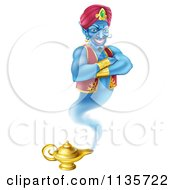 Clipart Of A Genie Emerging From His Lamp Royalty Free Vector Illustration by AtStockIllustration