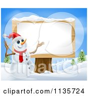Clipart Of A Christmas Snowman Presenting A Wooden Sign Royalty Free Vector Illustration